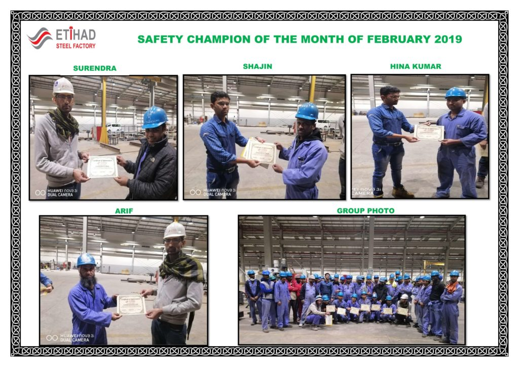SAFETY CHAMPION OF THE FEBRUARY 2019-2